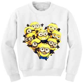 Harajuku Mujer 2015 Winter Casual Minions Print Cartoon  3d Sweatshirt Women Hoodies O-neck White