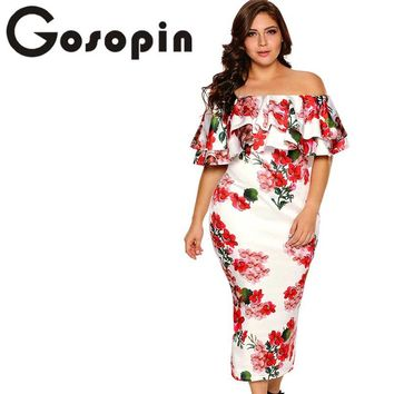 Gosopin Off Shoulder Dresses Summer Floral Ruffle Elegant Party Bodycon Dress Plus Size XXXL Vestidos De Festa Longo LC61611