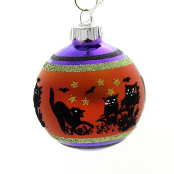 Shiny Brite HALLOWEEN SIGNATURE FLOCKED. Glass Ball Ornament 4026973S E