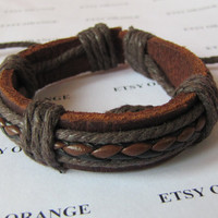 Real Leather and Multicolour Cotton Rope Woven Bracelets Adjustable 337S
