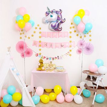 New 2 Style Rainbow Color Unicorn Party Balloons Happy Birthday Banner Baby Shower Decoration Photography Background Supplies