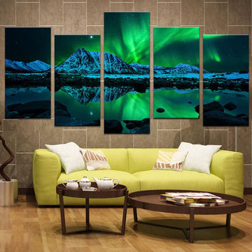 5 Panels Landscape Green Aurora Canvas Print Painting Modern Northern Light Wall Art Picture HD Print For Home Decor