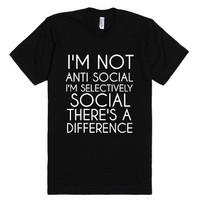 Not Anti Social-Unisex Black T-Shirt