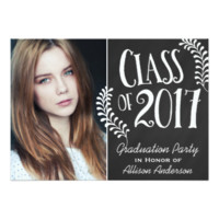 Class of 2017 Graduation Party Chalkboard Vintage 5x7 Paper Invitation Card