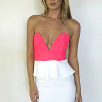 Must Dream On Peplum Dress - White/Pink