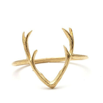2017 New Cute Simple Animal Antler Rings for Women Deer Horn Ring -R136