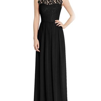 Tideclothes Long Chiffon Bridesmaid Dress Lace See-through Prom Dress