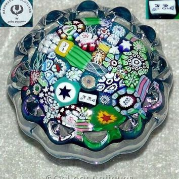 JOHN DEACONS scotland MILLEFIORI daisy END of DAY art glass PAPERWEIGHT label
