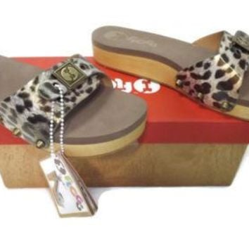 FLOGG Leopard Animal Print womens Mules Sandals Shoes Size 8.5 Brass Accents $99