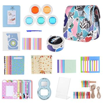 13 in 1 Accessories Kit for Fujifilm Instax Mini 8/8+/8s/9 w/Camera Case/Strap/Sticker/Selfie Lens/Colored Filter/Albumetc