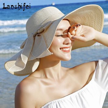 2017 New Summer Fashion Women's Ladies' Foldable Wide Large Brim Floppy outdoor beach sun hats 8 color