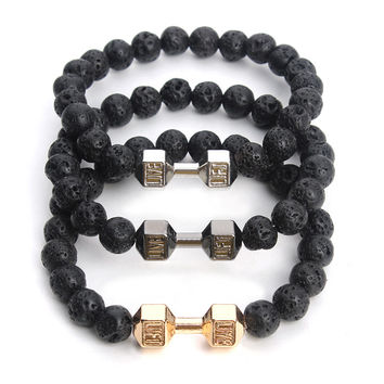 Natural Stone Gold Plated Barbell Charm Bracelets Lava Rock Beads Men Dumbbell Bracelet Women Bangle Jewelry Drop Shipping F3774