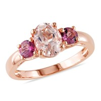 1.55 CT TGW Morganite Pink Tourmaline Fashion Ring  Pink Silver Pink Plated