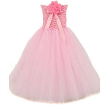 Pink long tutu dress. Great for Halloween, pictures, flower girl, and dress up. Limited quantities.