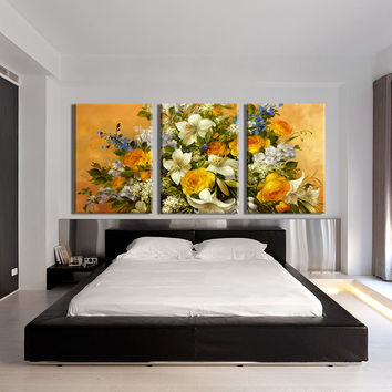 3 PIECES MODERN ABSTRACT HUGE WALL ART OIL PAINTING ON CANVAS PRINT FOR THE CLASSIC FLOWERS  FREE SHIPMENT No FRAME