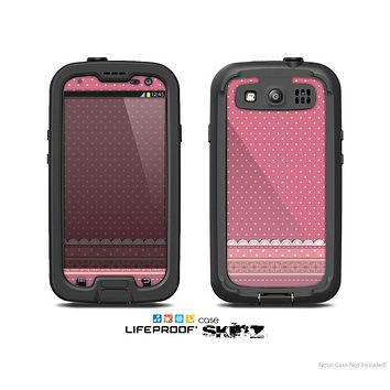 The Pink & White Polka Dot Pattern V4 Skin For The Samsung Galaxy S3 LifeProof Case