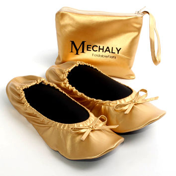 Mechaly Women's Gold Vegan Leather Foldable Flats