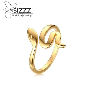 SIZZZ Snake Rings for Women High Polished Stainless Steel Serpent Rings Jewelry