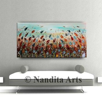 """Floral painting Red flower Artwork, by Nandita Albright Abstract Textured Floral wall art Original Paintings Multicolored 48""""x24""""/122x61cm"""