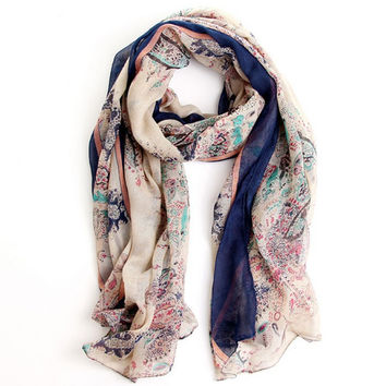 Women's Floral Scarf Fashionable Clothing