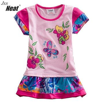 Summer New baby girl clothes college style girls dresses embroidered stripe bow kids clothes short sleeve dress clothing S66303