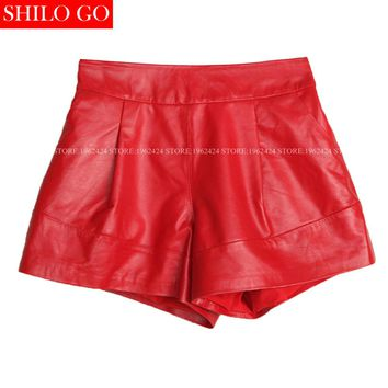 2017 autumn winter fashion new women high quality sheep skin leather thin elastic waist wide leg red leather boots shorts 3XL