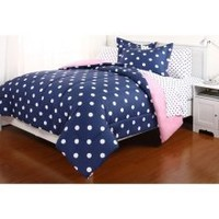 5pc Blue Pink Reversible Polka Dot College Dorm TWIN XL Comforter Set (5pc Bed in a Bag):Amazon:Home & Kitchen