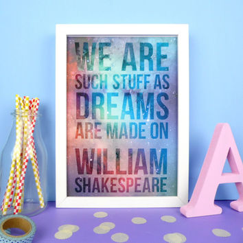 William Shakespeare Quote Print. Shakespeare Poster. Book Poster. Literary Poster. Book Gifts. Literary Gifts. Book Art. Reading. Library