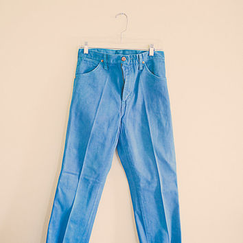 80s Wranglers Turquoise Blue High Waist Colored  Denim  Jeans Size 32 Size 7 Cowgirl Rocker 80's Vintage