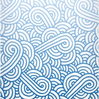 Gradient blue and white swirls doodles Beach Towel