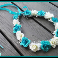 white, teal, rose, crown, headband, turquoise, blue, Halo, bridal, headpiece, flower, girl, bridesmaid, rustic, wedding, baby's breathe