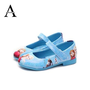 Cool Kids Children Girl Elsa Anna Girls Princess Shoes Fashion Blue Shoes Flat Evening party Leather Shoes Anna Queen Casual SneakersAT_93_12