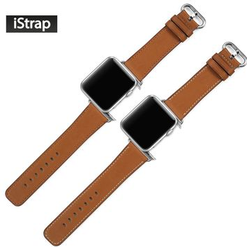 iStrap High Quality Brown 42mm Strap For Apple Watch Genuine Leather Replacement Bracelet  For Apple Watch Band 42mm Super Soft