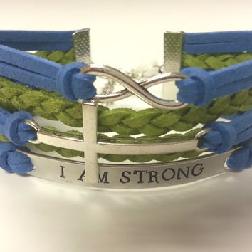 Personalized Cross Infinity Bracelet, Faith Bracelet feat. Hand Stamped Affirmation and Sideways Cross - Choose Your Color!