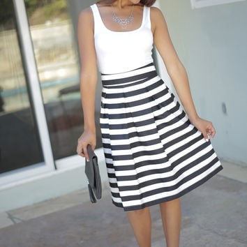 Striped 'Blair' Midi Skirt