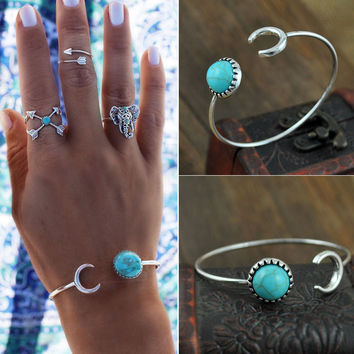 2016 Fashion Punk Green Turquoise Bead Bangles Silver Plated Moon Shape Cuff Bracelets for Women Bangles Cuff  Jewlery Pulceras
