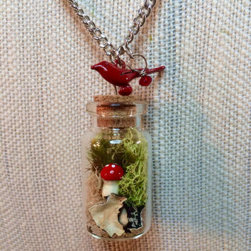 Terrarium Necklace, Terrarium Jewelry, Mushroom Necklace, Mushroom Jewelry, Moss Necklace, Moss Jewelry, Bird Charm, Red Crystal, Nature