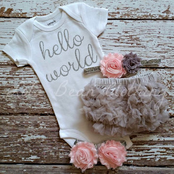 READY TO SHIP Baby Girl Take Home Outfit Newborn Baby Girl Silver Hello World Onesuit Bloomers Headband Sandals Set Grey Bloomers Baby Pink