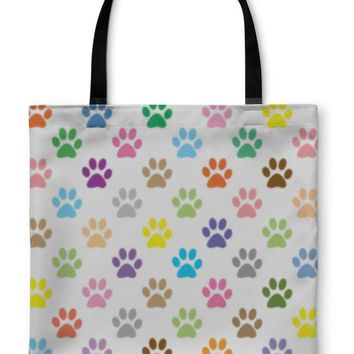 Tote Bag, Colorful Puppy Paw Prints Illustration