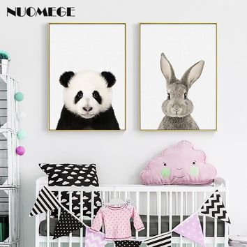 NUOMEGE Baby Animal Panda Giraffe Elephant Canvas Poster Nursery Wall Art Print Painting Nordic Picture Kid's Bedroom Decoration