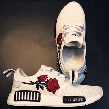 VOE0N5 Adidas: NMD OFF-WHITE Knit roses running shoes