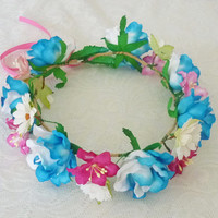 Blue pink Rose crown Big Rose headpiece / Flower crown/ Rose headpiece
