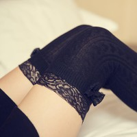 1 Pair SPring Autum Winter lace bow 6 Colors Fashion Sexy Thigh High Over The Knee Socks Long Cotton Stockings For Girls Ladies