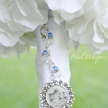 Something Blue Bridal Bouquet Charm - Bridal Bouquet Photo Charm - Bouquet charm - Bouquet Picture Charm - Bridal Gift - Bouquet Pendant