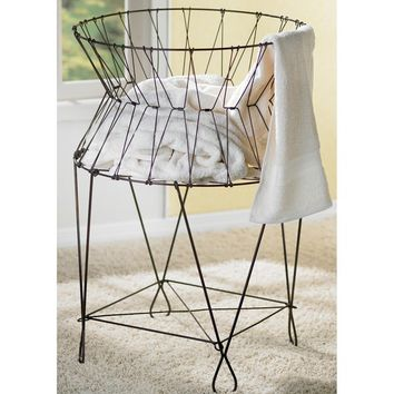 Vintage Collapsible Wire Laundry Basket Hamper | Overstock.com Shopping - The Best Deals on Hampers