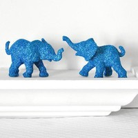 Safari Blue Elephants Baby Shower Decorations In Glitter For Boy Jungle Nursery Decor Sapphire Circus Birthdays Or Wedding Table Settings