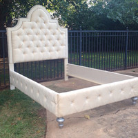 Tufted Linen Velvet Bed Queen King Full Twin Nailhead Trim Rhinestone Crystal Button MADE TO ORDER