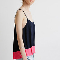 Pleated Chiffon Colorblock Cami