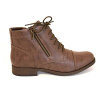 Chelsea Crew Bloom - Taupe Short Lace/dual-Zip Flat Boot
