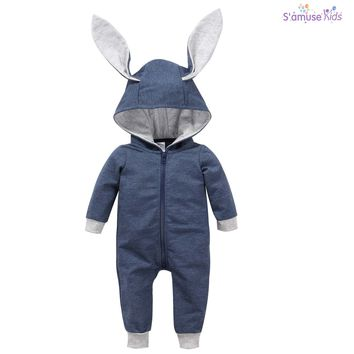 Newborn Baby Girls Boys Clothes Baby Rompers Long Sleeve Jumpsuit Bunny Ear Baby Clothes Autumn Infantil Hoodes Romper